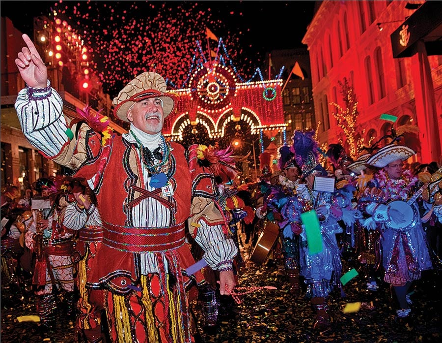 Philadelphia Mummers perform during Mardis Gras Galveston; Photo: Galveston Island CVB