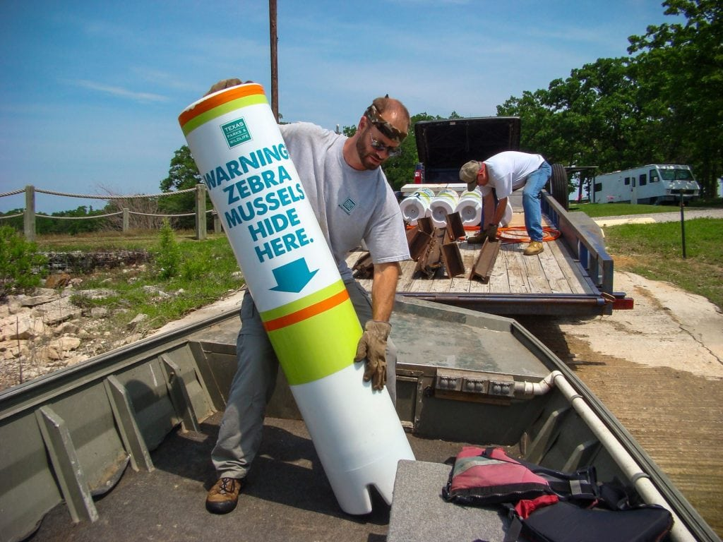 One of the many efforts the Texas Parks and Wildlife Department are using to control the Zebra mussels. Photo credit: Texas Parks and Wildlife Dept.