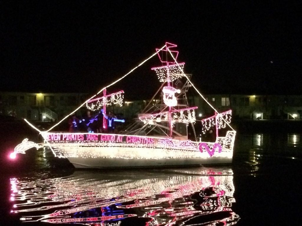 This is a photo of the boat I was on for the New Smyrna Beach, FL, Holiday Boat Parade 12/13/14. Winner of the big boat category (obviously not by Ft. Lauderdale standards!). 38' Rampage dressed as a pirate ship. Owned and captained by Debbie Rosselle. Photo courtesy of Becky Brabham.