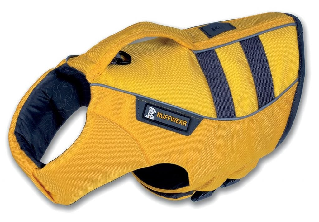 The Ruffwear K-9 Float Coat has reflective trimming for visibility in and out of the water.