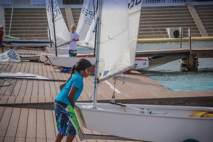 Girl launching her opti