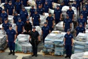 The crew of the Coast Guard Cutter Stratton stands by to offload 34 metric tons of cocaine in San Diego on Monday, Aug. 10, 2015. The drugs were seized in 23 separate interdictions by Coast Guard cutters and Coast Guard law enforcement teams operating in known drug transiting zones, resulting in one of the largest cocaine offloads in U.S. history, valued at more than $1 billion. U.S. Coast Guard photo by Petty Officer 2nd Class Patrick Kelley.