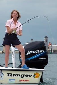 "Betty Bauman, founder and CEO of ""Ladies Let's Go Fishing!"" doing what she teaches."