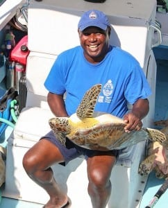 Abaco Park Warden Marcus Davis helps with Sea Turtle Research.