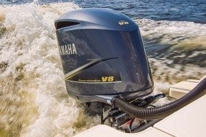 Yamaha's powerful F350C is the world's first 5.3-liter V8 four-stroke outboard.