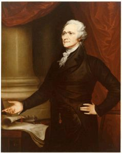 1880 painting of Alexander Hamilton by Caroline Ormes Ransom commissioned by the Treasury Department. Courtesy of the Treasury Department Collection.