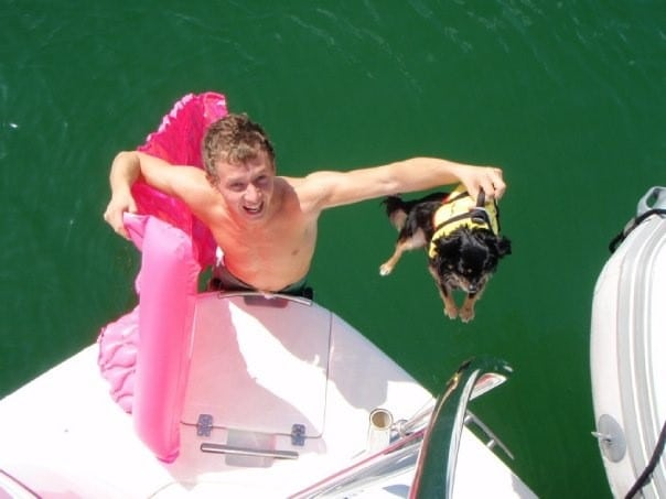 Toodles trying our his lifejacket