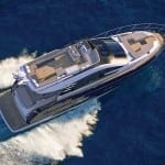 motor yacht in navigation, aerial view
