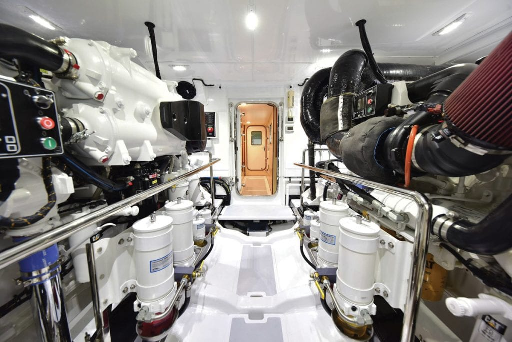 an image of the engine room onboard the Marlow 70E Mk2 from Southern Boating