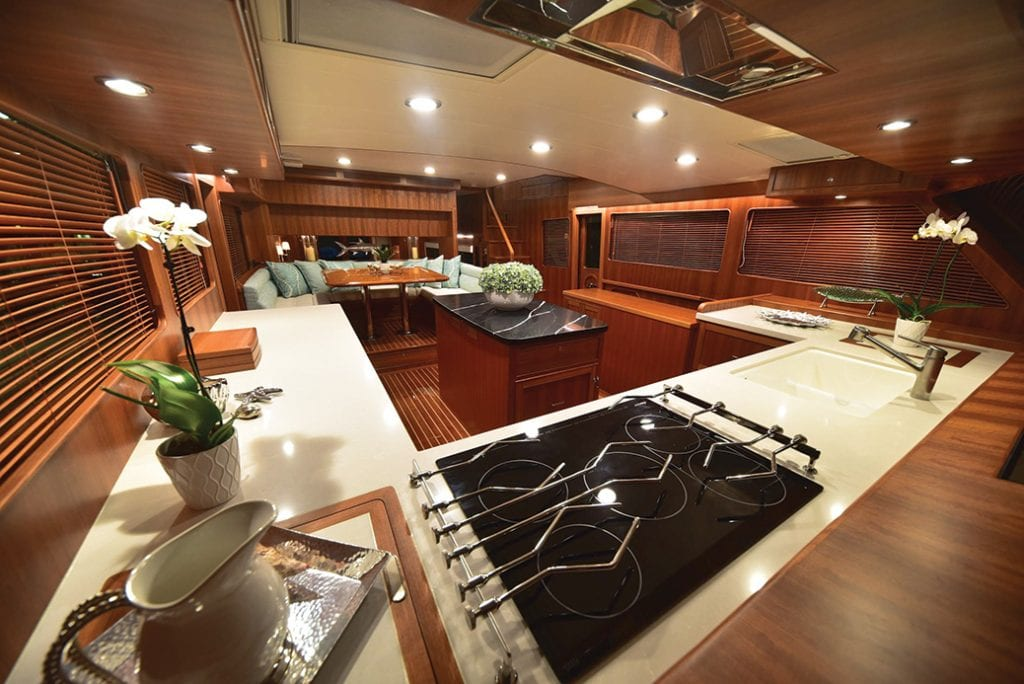 an image of the galley onboard the Marlow 70E Mk2 from Southern Boating
