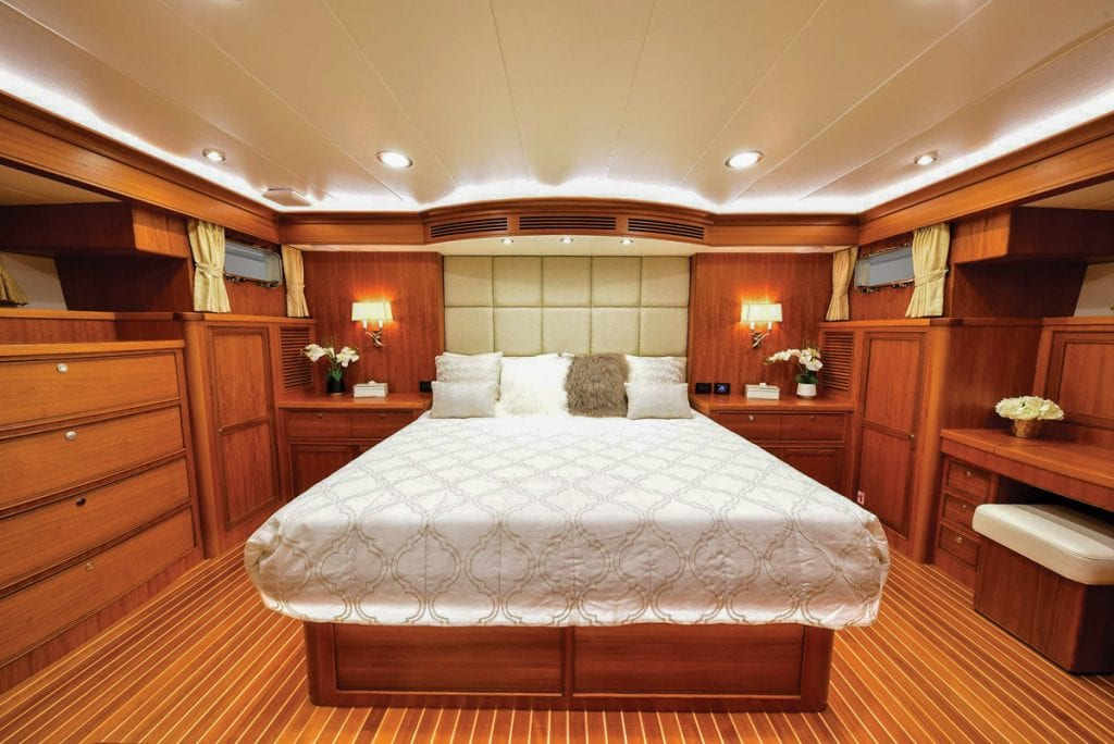 an image of the master stateroom onboard the Marlow 70E Mk2 from Southern Boating