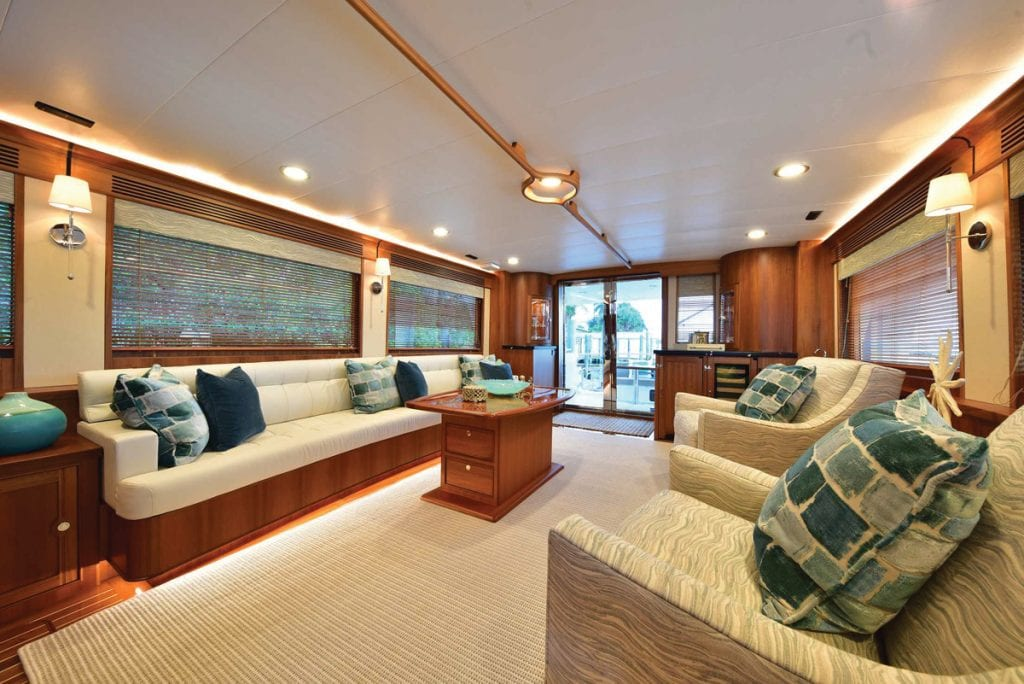 an image of the main salon onboard the Marlow 70E Mk2 from Southern Boating