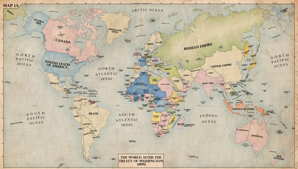 Map of the world in 1895 when Captain Joshua Slocum circumnavigated the globe.