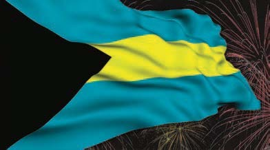Bahamian flag with Fireworks