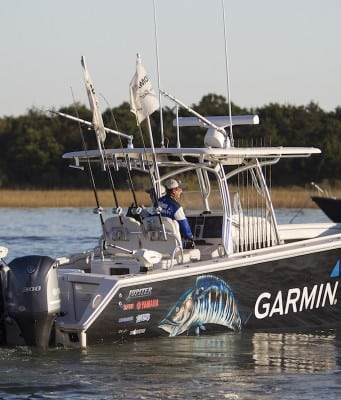 An image of the Jupiter 38 HFS at a fishing tournament