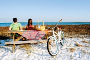 Nothing could be more idyllic than a bike ride to the beach in Pensacola, FL.