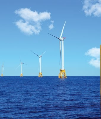 The wind farm off the shores of Block Island, Rhode Island harnesses wind power for the small island.