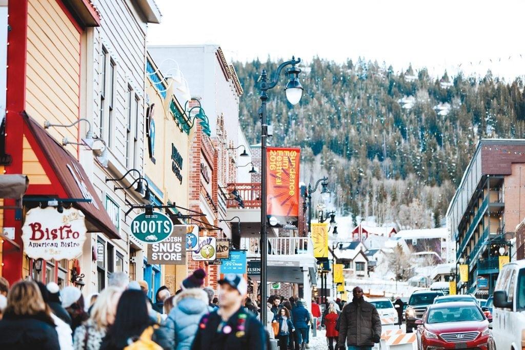 Historic Main Street During Sundance Film Festival in Park City Utah