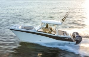 An image of the World Cat 280DC-X, which is a center console catamaran built for fishing and cruising.