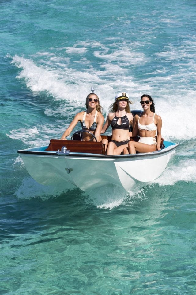 our models take a cruise on a Metan 13 wearing their polarized sunglasses Floats Eye Wear ©Jim Raycroft