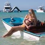 Sarah lounges on the Metan Marine Super Sport 13