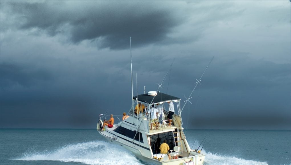 An image of a sportsfish headed into a thunderstorm.