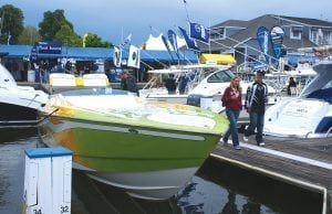 This is an image of powerboats at the Annual Bay Bridge Boat Show.