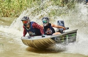 An image of two men competing in the Red Bull Dinghy Derby