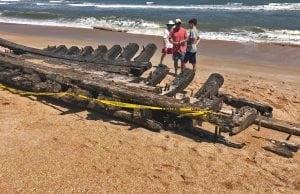 shipwreck Ponte Verda Beach Old shipwreck washes ashore in Ponte Verda Beach, Florida.