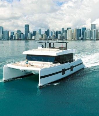 An image of Sunreef Supreme 68 cruising through Miami.