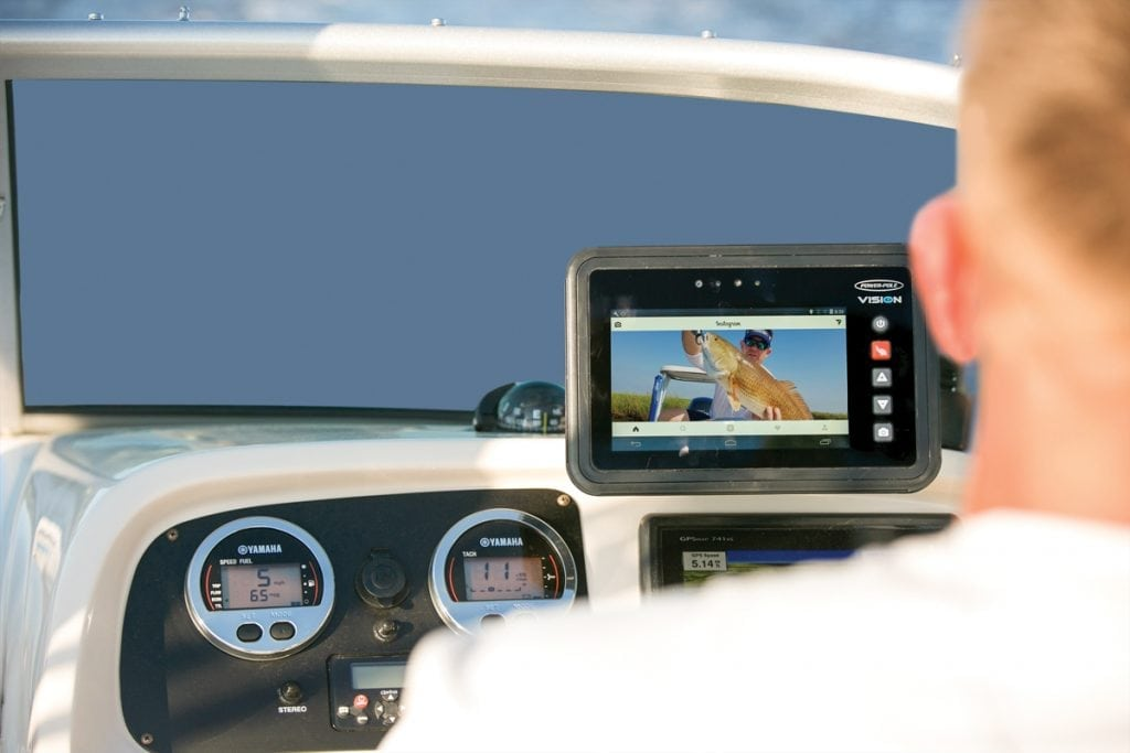 An image of a wireless tablet controlling boat.