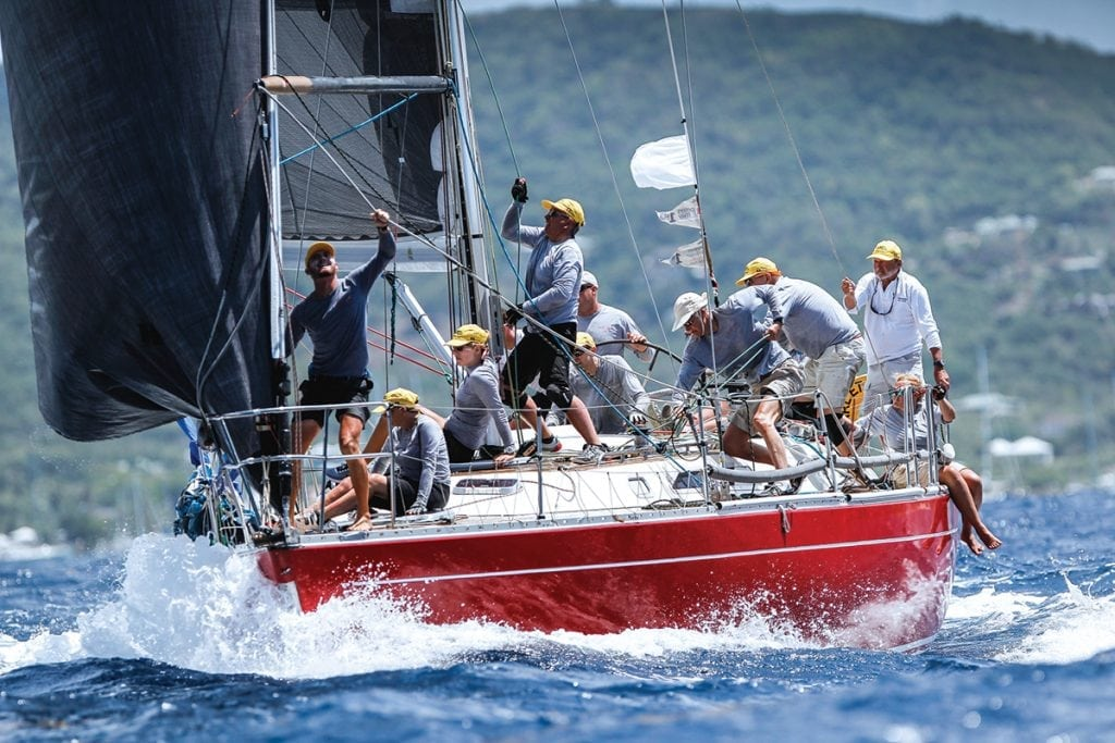 An image of sailors competing in Antigua Sailing Week