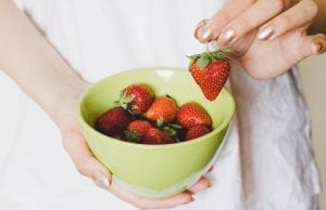 An image of strawberries for a strawberries with lime cream dessert.