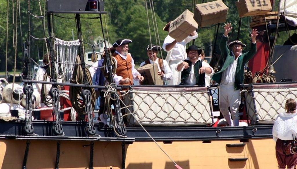 Actors reenact the Boston Tea Part at the Chestertown Tea Party Festival.