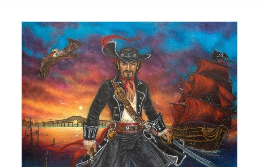 An artist's rendering of a pirate for the Louisiana Pirate Festival!