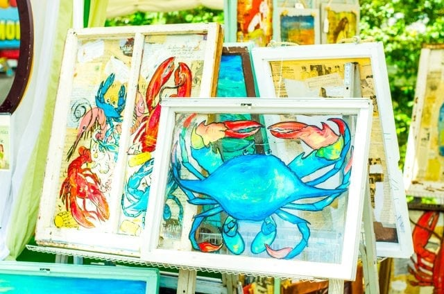 An image of a painted blue crab from the World Famous Blue Crab Festival in Little River, South Carolina