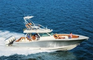An image of a center console rigged for fishing. Is this a sportfish or center console?