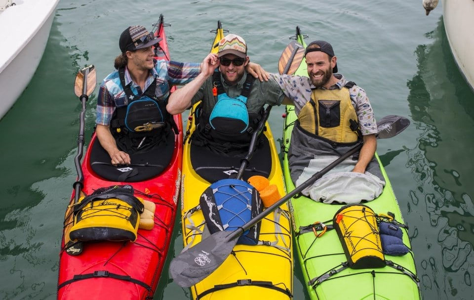 An image of three men Kayaking from Cuba, Kayakers set record