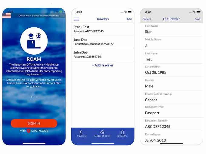 New ROAM app from Customs and Border Patrol
