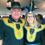 Colorful couple dressed to impress at the 22nd Annual Marlow Spring Rendezvous