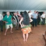 Guest learning the hula at the 22nd Annual Marlow Spring Rendezvous