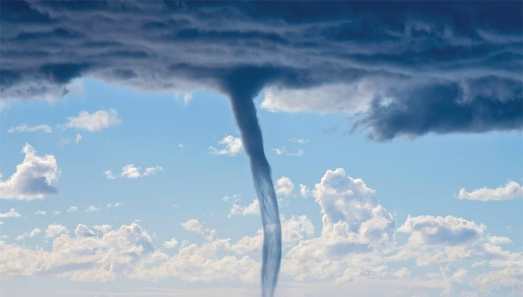 An image of a waterspouts path on the ocean