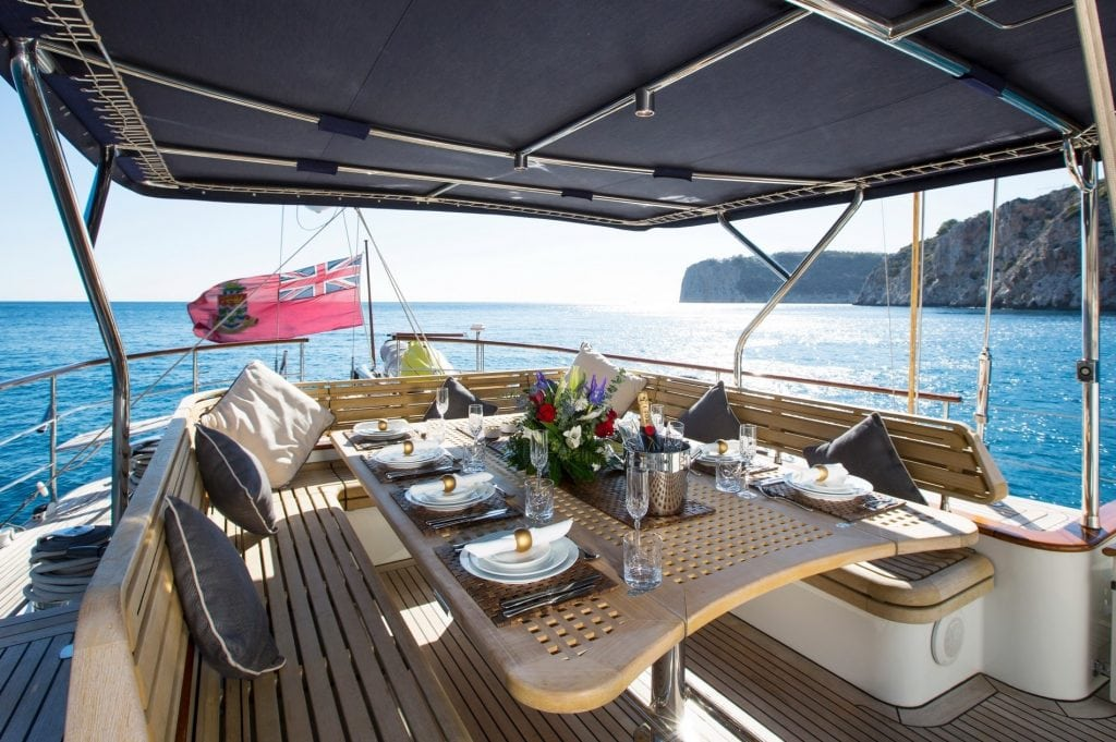 The aft deck of the s/v Infatuation. We'd love to eat with this view!