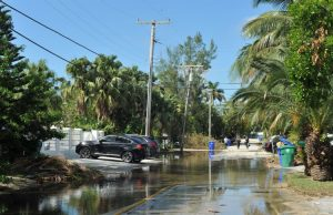 an image of sunny day flooding from rising seas