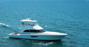 An image of a Bertram 61 sportfishing boat running from Southern Boating