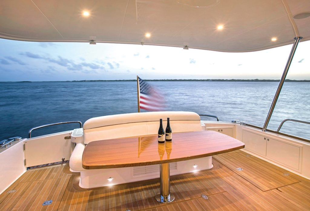 The aft deck on the GB60SL from Southern Boating
