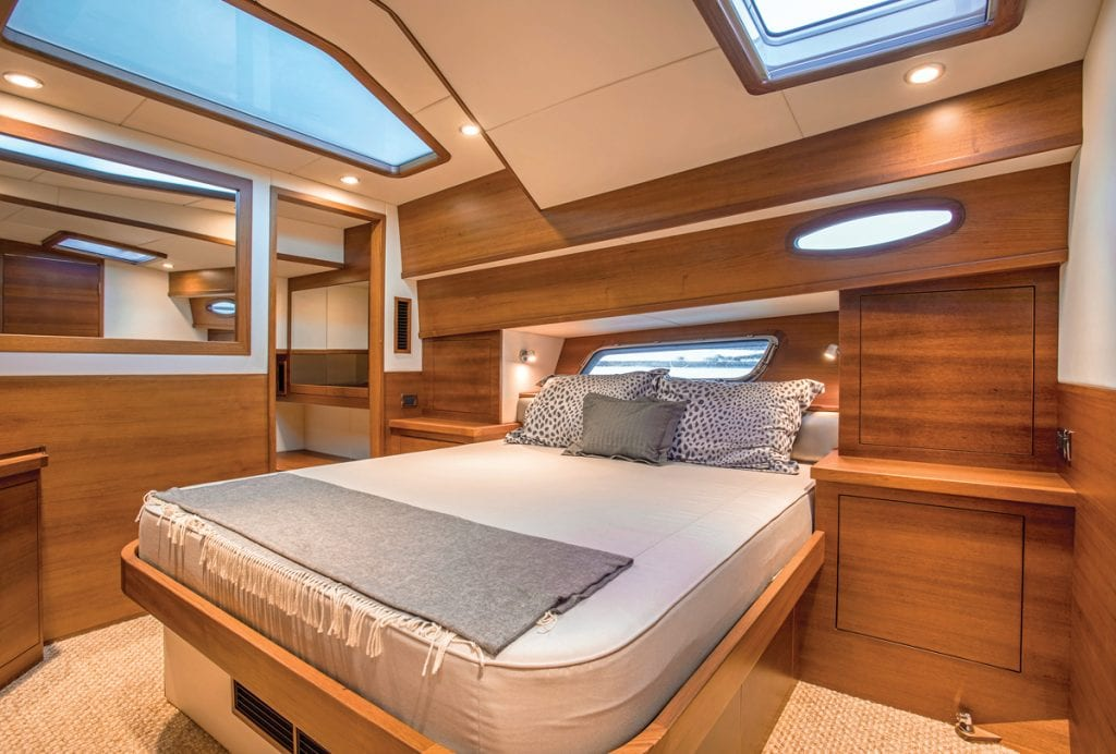 The master stateroom on the GB60SL from Southern Boating