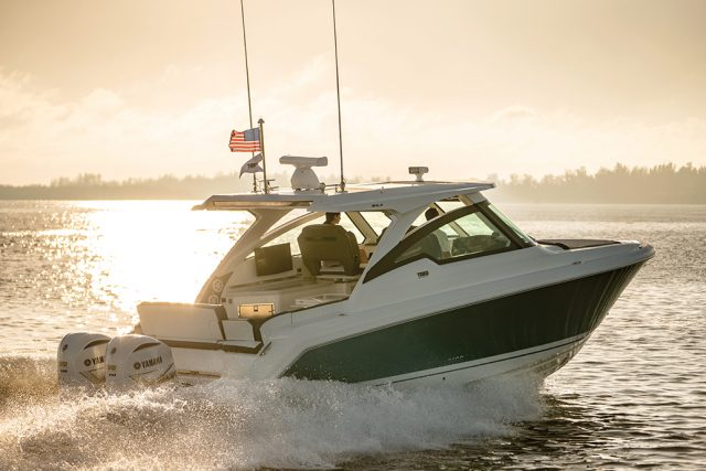 running shot of the Tiara 34LX from Southern Boating