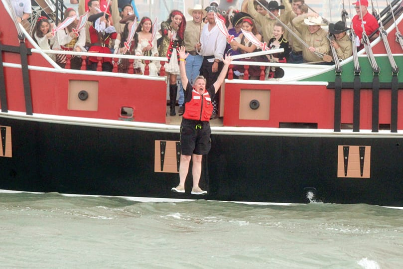 The mayor walks the plank during Buc Days