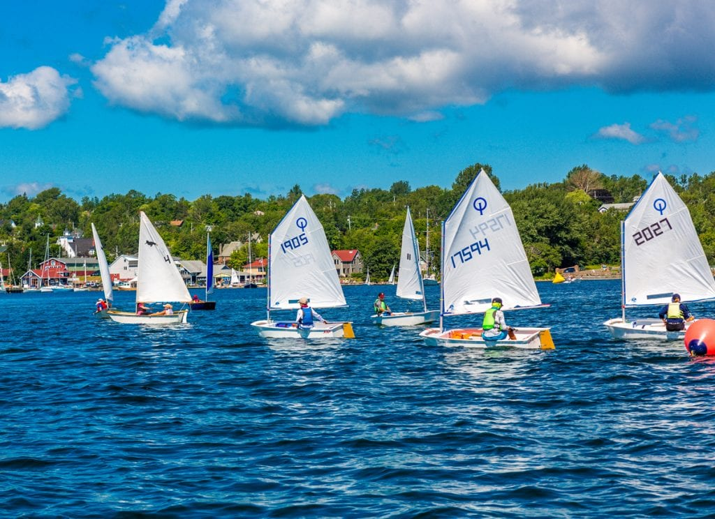 a fleet of optis sailing on the water